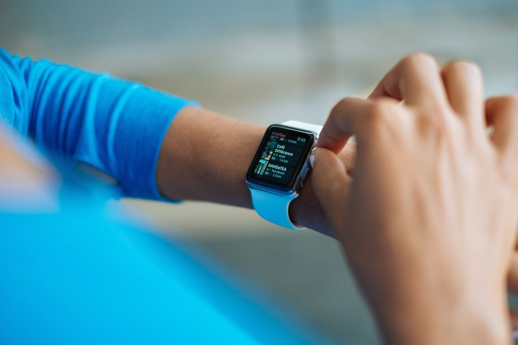 a smartwatch in the wrist