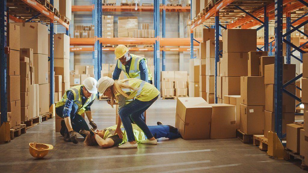 worker falling in a site work.